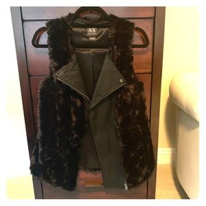 Armani exchange faux fur vest